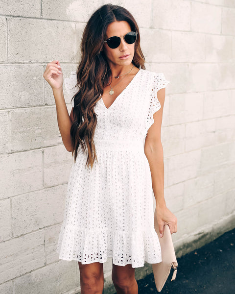 Ultimate Getaway Cotton Eyelet Ruffle Dress - FINAL SALE