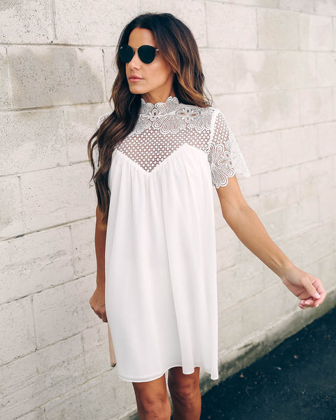 Mocktail Hour Crochet Lace Dress - Off White - FINAL SALE