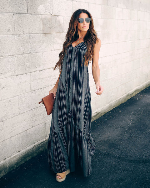 Turntables Cotton Blend Ruffle Maxi Dress - FINAL SALE