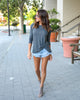 Long Sleeve At Ease Distressed Twist Top - Charcoal