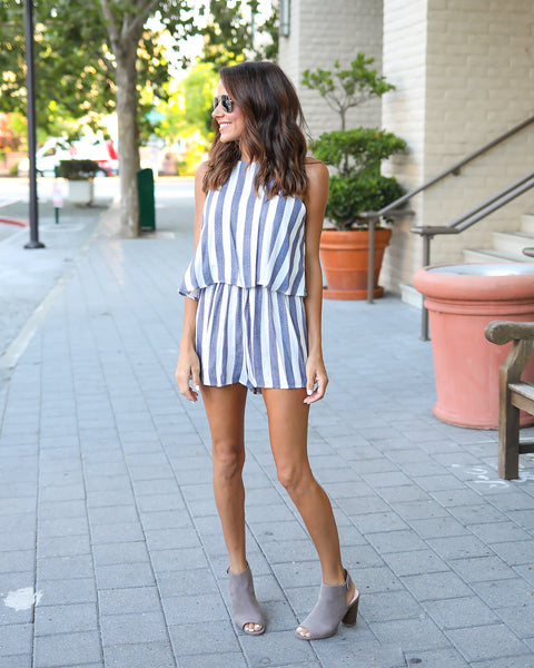 To The Beach Striped Romper - Navy