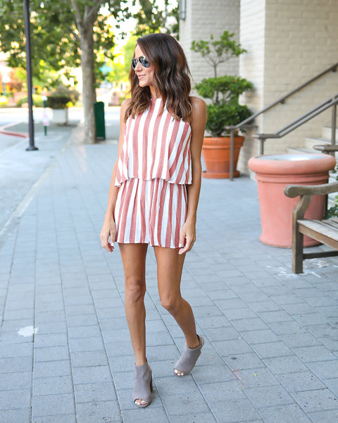 To The Beach Striped Romper - Red