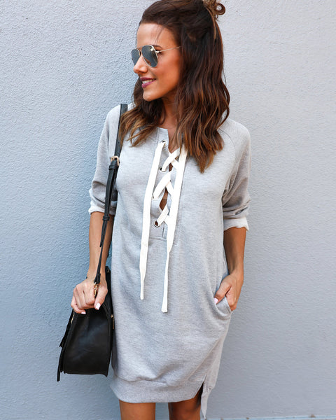 On The Go Cotton Pocketed Lace Up Dress - Heather Grey