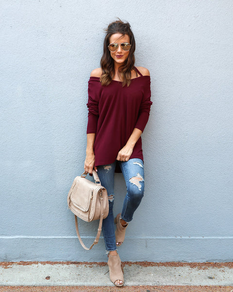 Duke Knit Top - Wine - FINAL SALE