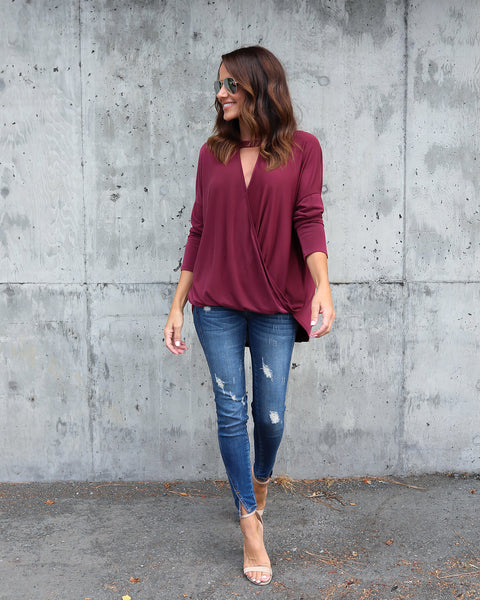 Lantern Drape Top - Wine