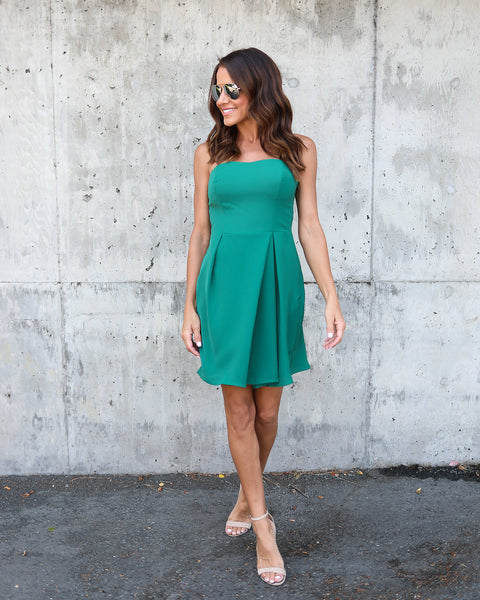 Jessica Strapless Dress - Green - FINAL SALE
