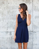 High Tea Scalloped Romper - Navy - FINAL SALE