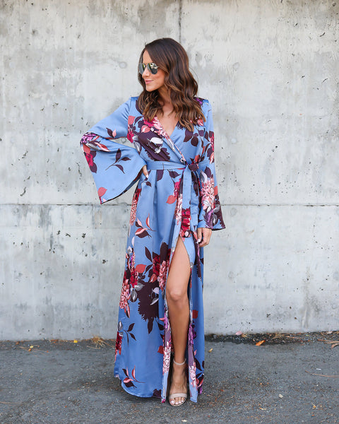 Floral Euphoria Wrap Maxi Dress
