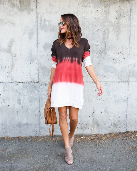 Carlsbad Tie Dye Keyhole Cotton Knit Dress
