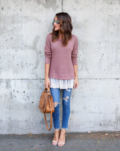 Bailey Thermal Lace Contrast Knit Top
