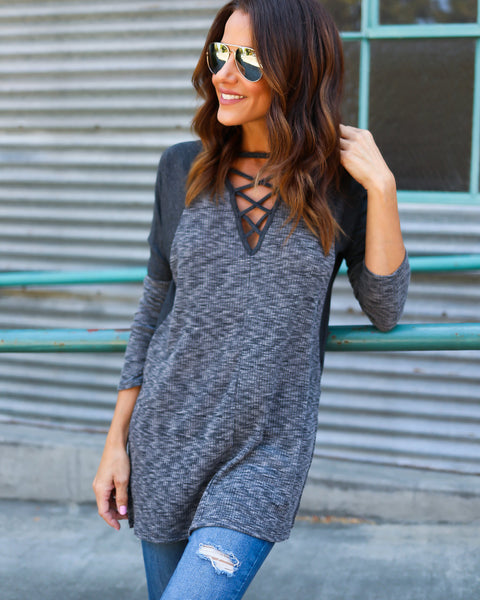 Freestyle Contrast Knit Top