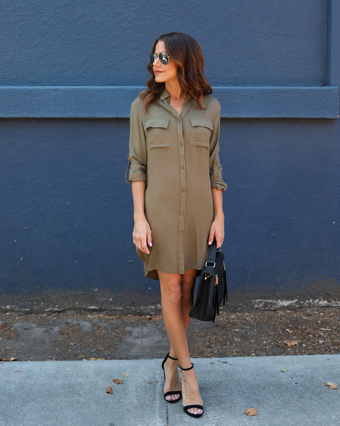 Corrie Button Down Dress - Olive