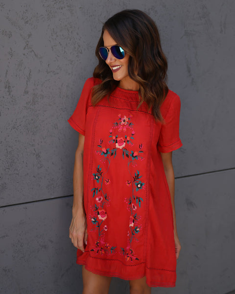 Suspiciously Sweet Embroidered Dress - Red