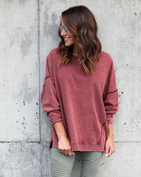 Carter Cotton Dolman Knit - Wine - FINAL SALE