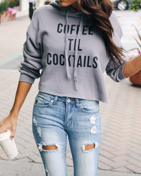 Coffee Till Cocktails Cropped Hooded Sweatshirt