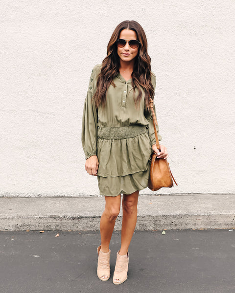 Fleetwood Smocked Embroidered Dress - Olive