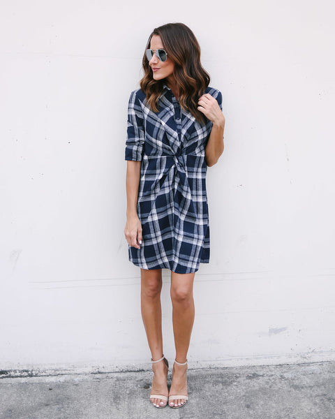 Percy Plaid Cotton Twist Dress