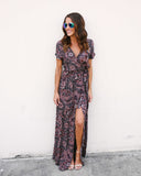 Journey Printed Wrap Maxi Dress