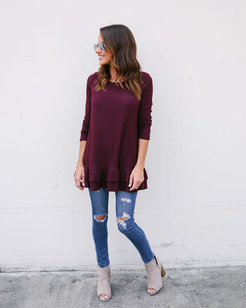 Karlie Thermal Top - Burgundy - FINAL SALE