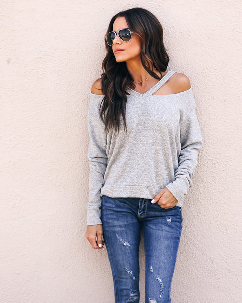 Lazy Saturday Cut Out Sweatshirt - Grey