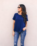 Daily Grind Short Sleeve Blouse - Navy