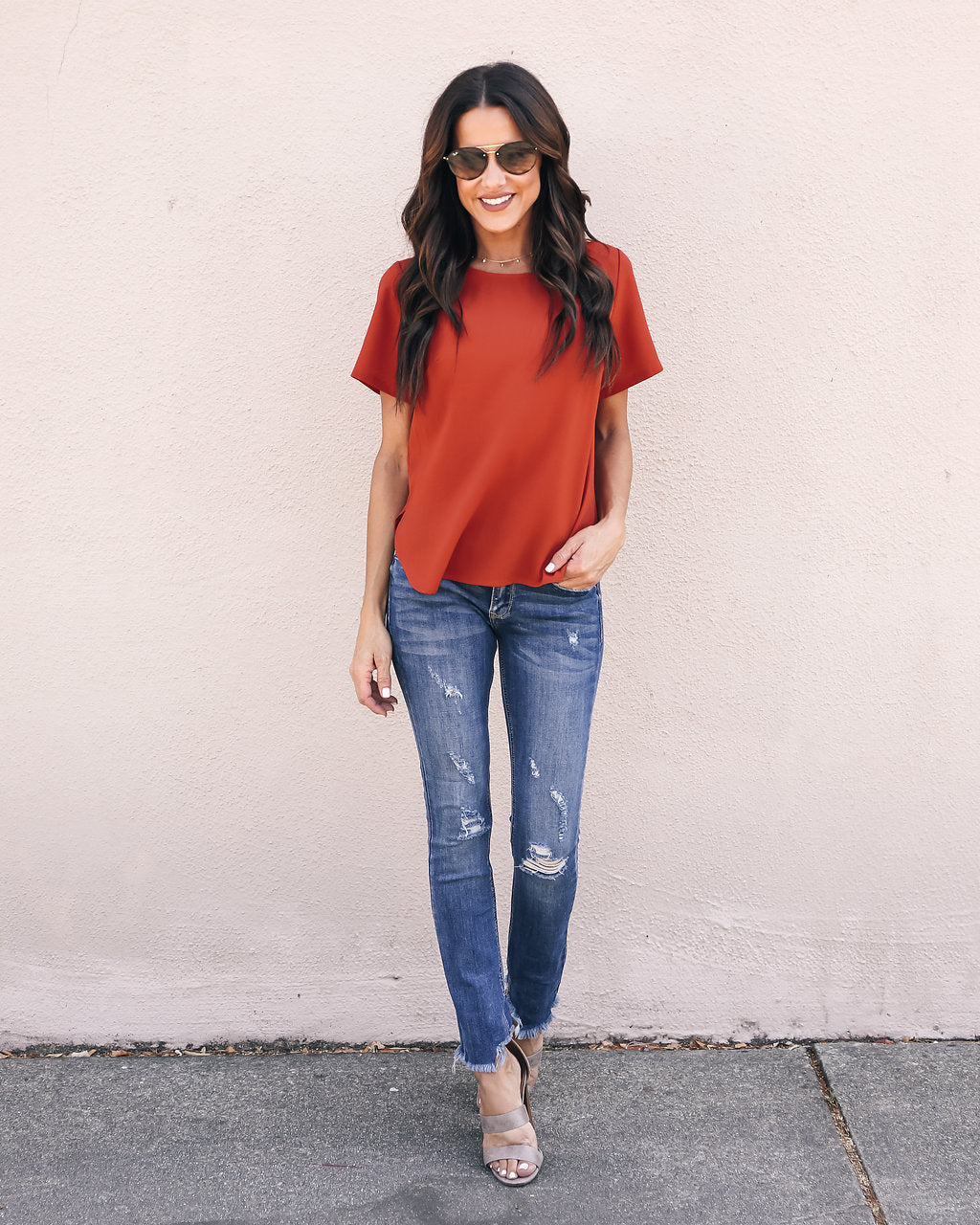 55f93ec23543d Daily Grind Short Sleeve Blouse - Rust – VICI