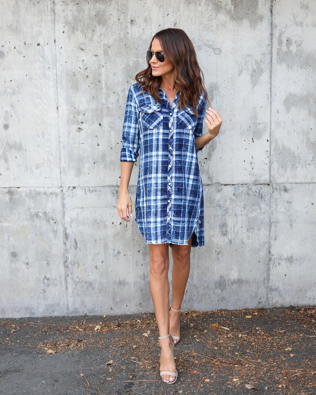 Popular Beacon Plaid Cotton Shirt Dress – VICI PO15