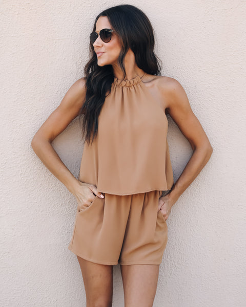 Pick Up Line Pocketed Romper - Camel