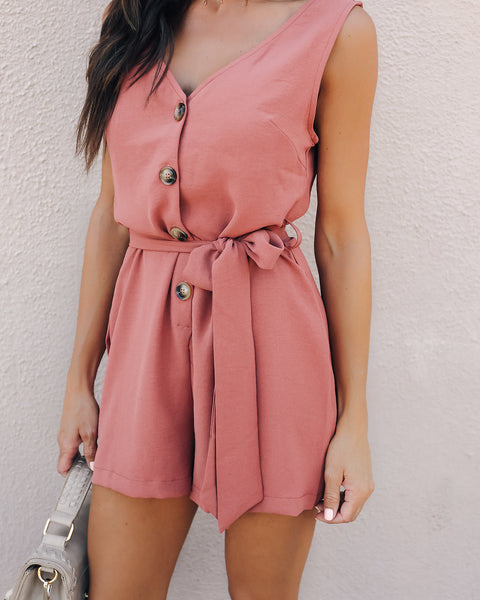 Stronger Love Belted Button Up Romper - Red Brown