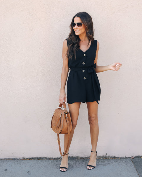 Stronger Love Belted Button Up Romper - Black