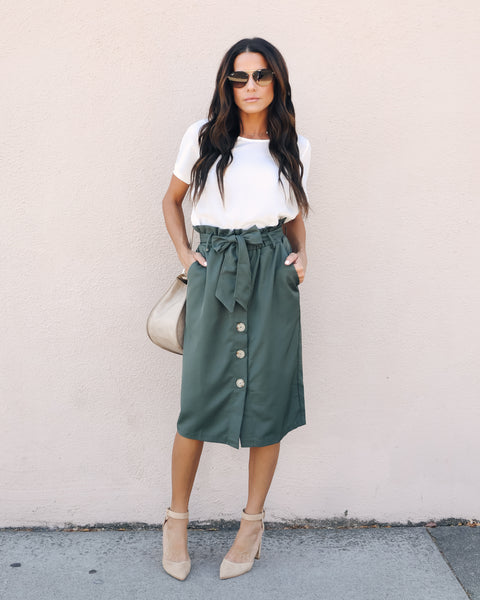 Business As Usual Pocketed Button Up Skirt - Army