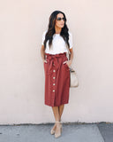 Business As Usual Pocketed Button Up Skirt - Brick
