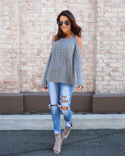 Rendered Cold Shoulder Cable Knit Sweater - Grey