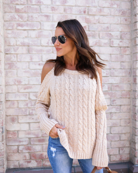 Rendered Cold Shoulder Cable Knit Sweater - Cream