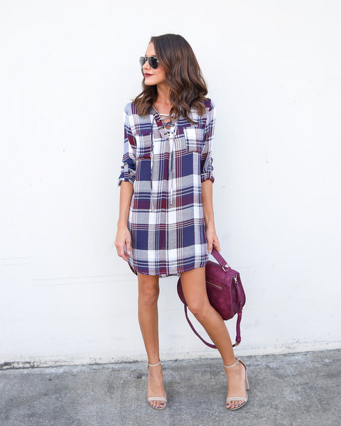 Thompson Lace Up Plaid Dress