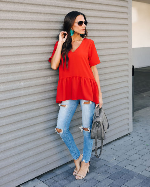 Piece Of Cake Peplum Blouse - Brick