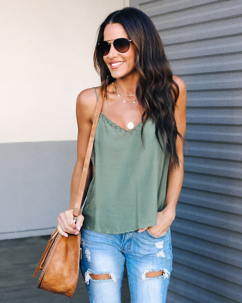 Tender Touch Cami Tank - Olive