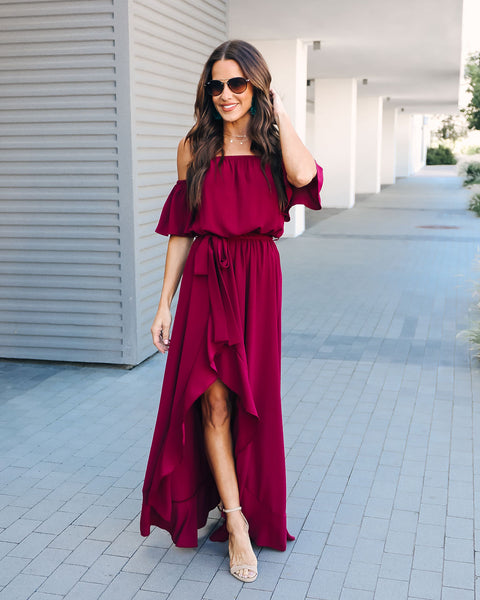 Front Row High Low Maxi Dress - Wine