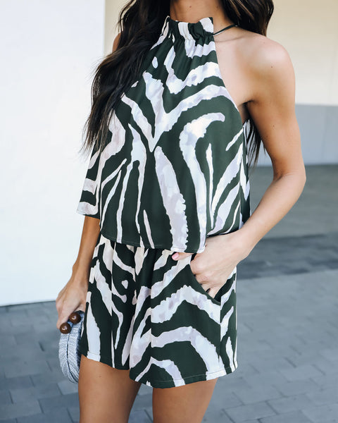 Alter Ego Pocketed Romper - Olive