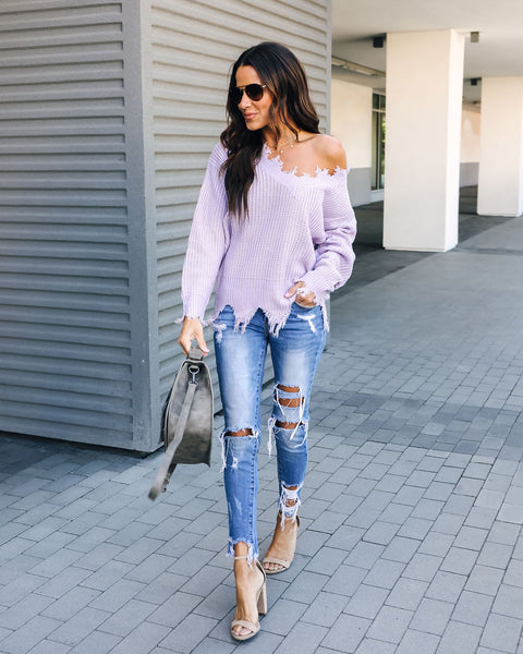 Venus Distressed Knit Sweater - Lavender