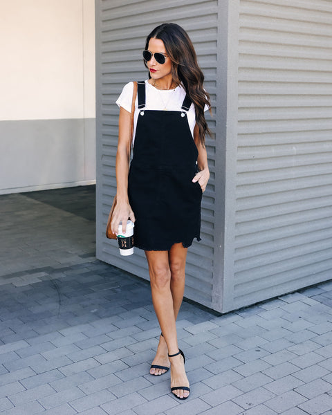Jennifer Denim Overall Dress - Black