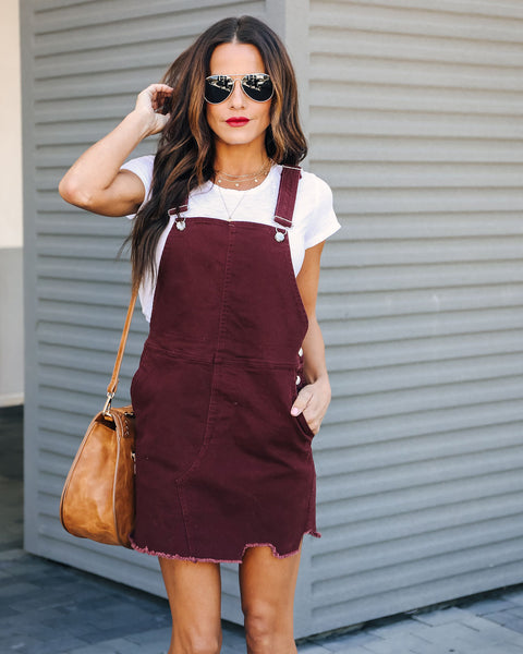 Jennifer Denim Overall Dress - Maroon