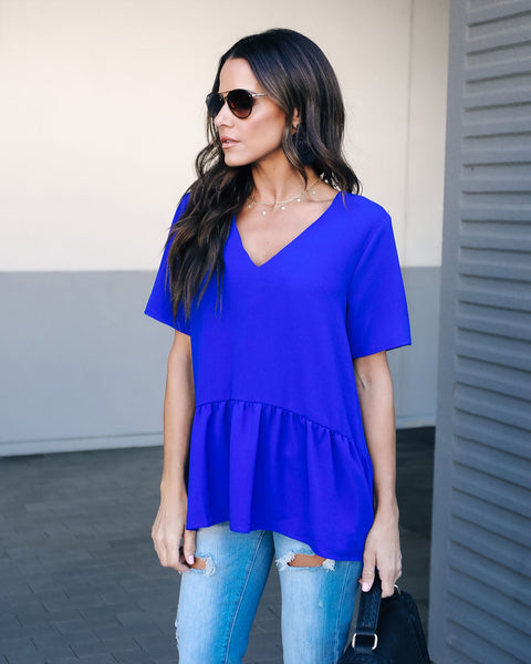 Piece Of Cake Peplum Blouse - Royal Blue