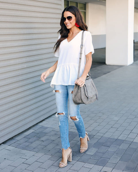 Piece Of Cake Peplum Blouse - Off White