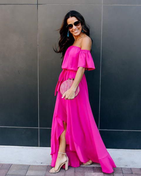 Front Row High Low Maxi Dress - Fuchsia