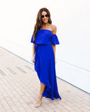 Front Row High Low Maxi Dress - Royal Blue