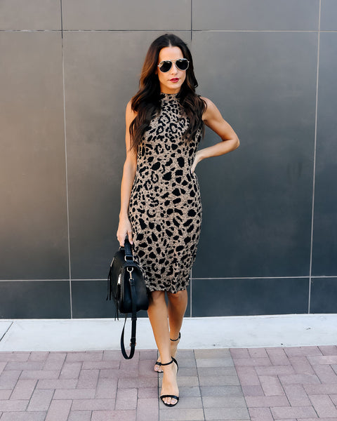 Sweet Spot Knit Leopard Dress