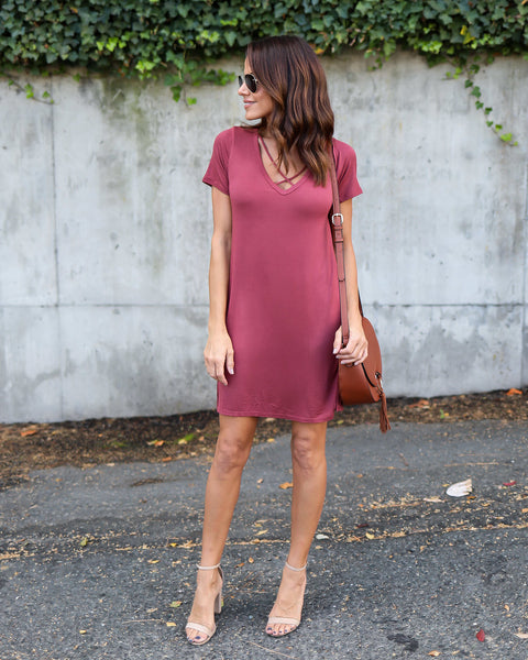 On The Rise Dress - Burgundy