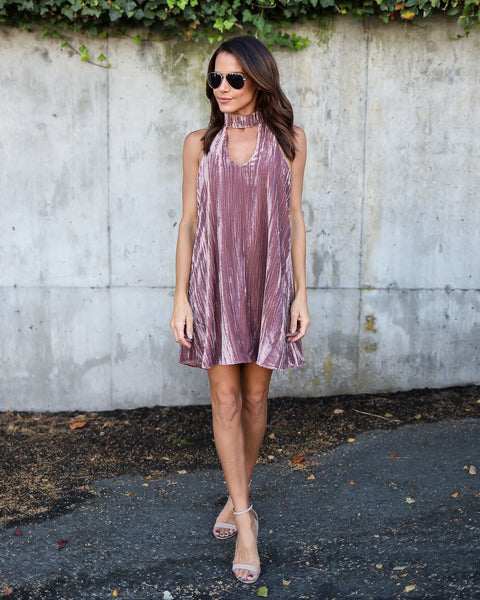 Crush On You Velvet Keyhole Dress - Mauve - FINAL SALE