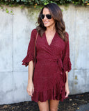 Feelin' Flirtatious Wrap Dress - Wine